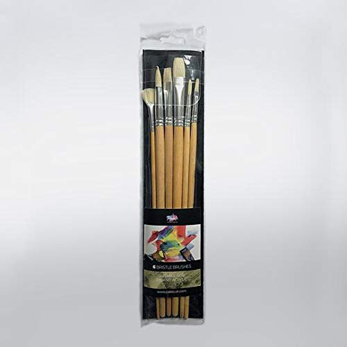 Bristle Oil Paint Brush Set - Long Handle (Wallet of 6) - by PABLO® - Natural, Hog Hair Brushes Made from High Quality Fibres (Suitable for Oil & Acrylic Painting)