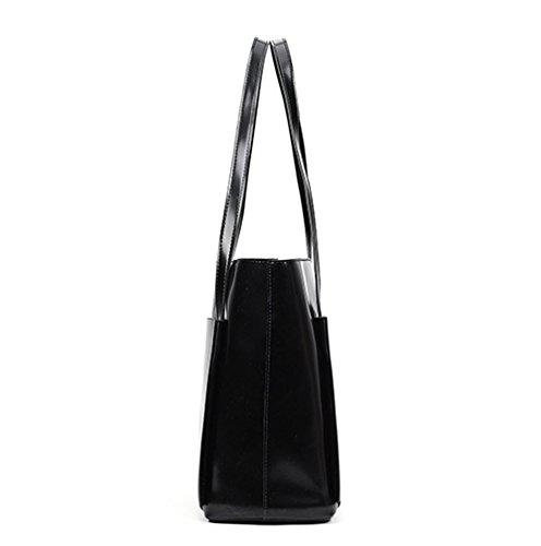 Wax Black Pcs Bag Faux 4 Messenger Handbag Women Tote Leather Set Purse Color Card Oil Solid Kairuun p70wtqxaw