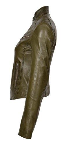 A1 Longues Olive Vert Biker Blouson Femme Fashion Goods Manches r8gXqrHT