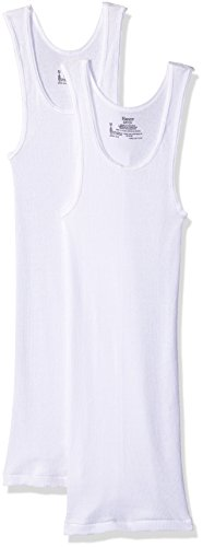 Hanes 2 Pack Womens White Long Rib Tanks (Size Small) Womens Rib Tank