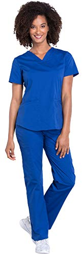 Cherokee Workwear Professionals Women's V-Neck Top WW665 & Women's Pull-On Cargo Pant WW170 Medical Uniforms Scrub Set (Galaxy Blue - Medium/Medium Petite)