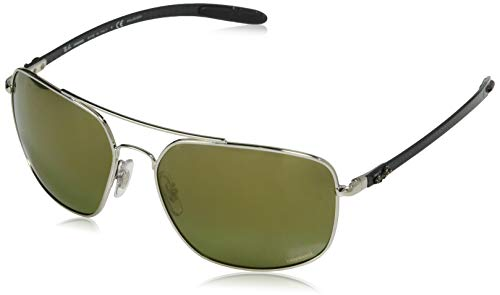 (Ray-Ban Men's RB8322CH Chromance Mirrored Square Sunglasses, Silver/Polarized Green Mirror Gold Gradient, 62 mm)