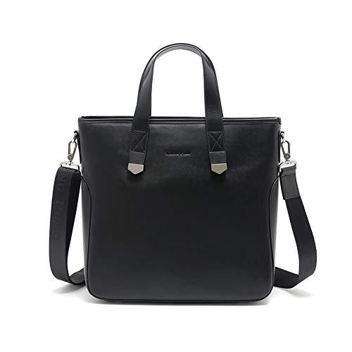 Leather Business Briefcase Top Handle Bag with Shoulder Strap (Black) ()