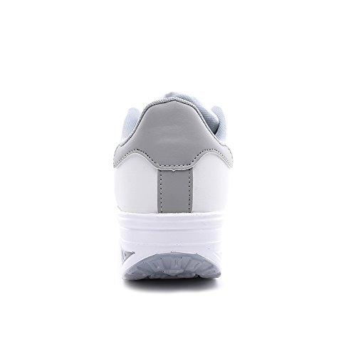 Sportive Ginnastica da Running Tennis Heeled Piattaforma Zeppa Outdoor Casual Scarpe Bianco Stringate Grigio2 Sneakers Donna KUAIKUHEI Fitness zH7gOWx