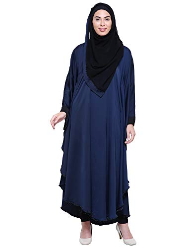 Binish Women's Dubai Butterfly Style Soft Nida Fabric Stone Work with Hijab (Dupatta) (Navy Blue Colour_Free Size) (BRQ_006)