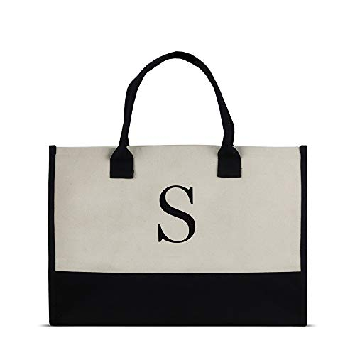 Monogram Tote Bag with 100% Cotton Canvas and a Chic Personalized Monogram (Black Block Letter - S)