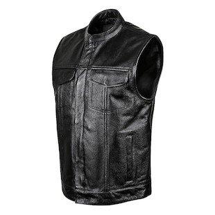 STREET & STEEL Redwood Leather Motorcycle Vest - 2XL, Black