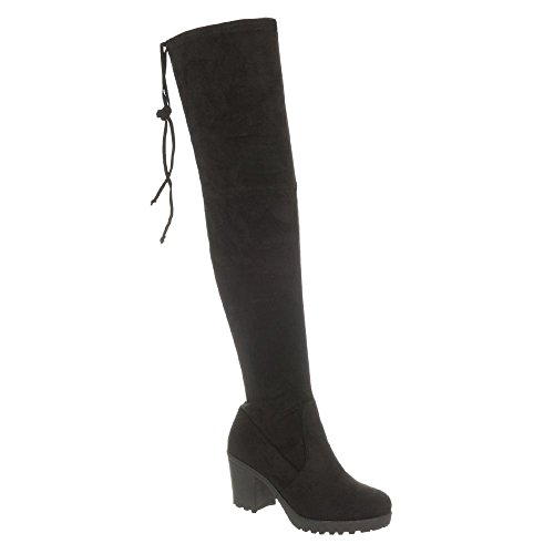SAMMY. Over The Knee Medium Cleated Block Heel And Small Platform Boot BLACK SUEDETTE dGKeDeOgy