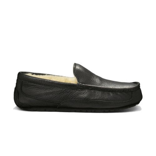 UGG Men's Ascot Black Suede Slipper 9 D - Medium (Ascot Slipper)