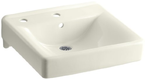 (KOHLER K-2084-L-96 Soho Wall-Mount Bathroom Sink with Single-Hole Faucet Drilling and Left-Hand Soap/Lotion Dispenser Drilling, Biscuit)