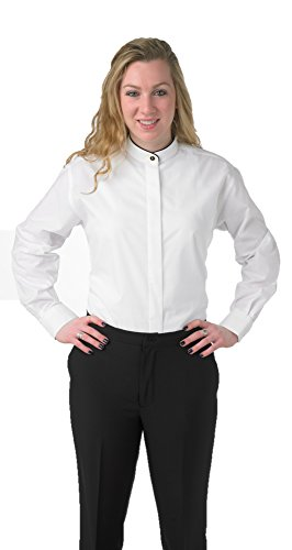 - Premium Women's White Dress Blouse Shirt Banded Collar with Black Piping - XXL