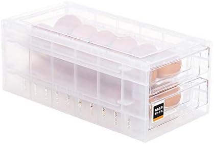 Con Asa 24 Rejillas Caja de Huevos Contenedor de 2 Niveles Contenedor Port/átil de Pl/ástico Transparente Soporte de Huevos para Cocina de Refrigerador Contenedor de Huevos