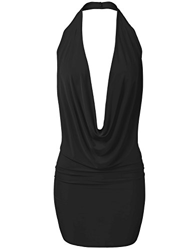 Lightweight Sexy Low Cut Halter Loose Front Draping