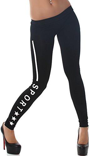 Leg Vanilla Damen Schwarze Leggings mit Print