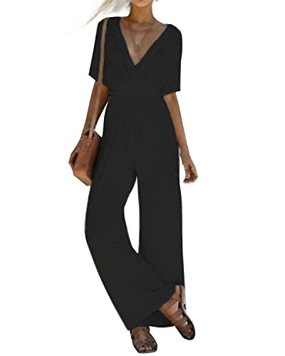 Kidsform Women's Jumpsuits Short Sleeve V-Neck Halter Wide Leg Long Pants Cocktail Pantsuit Jumpsuit Romper (Jumpsuit Wrap)