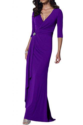 Toscana sposa elegante V-taglio Chiffon stanotte vestimento per madre un'ampia Party ball abiti da sposa viola 52