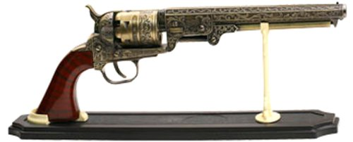 BladesUSA SMB-110 Decorative Western Revolver with Display Stand, 13-Inch Overall]()