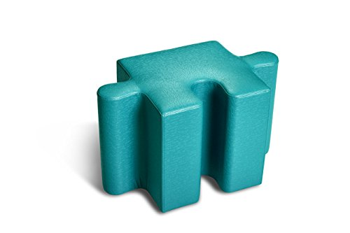 Logic Furniture JIGTTL17 Jigsaw 2 Edge Tab Ottoman, Teal by Logic Furniture
