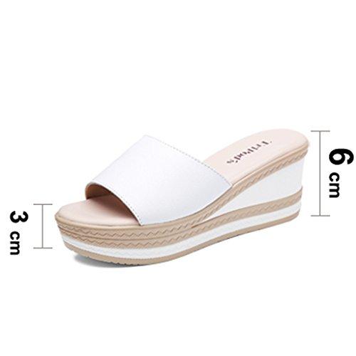 Cuir 8 35 US5 Sandales Vêtements XIE Nouvelles TIANYINI Pantoufles Les 5 Augmenté UK3 Femelles 5 6 en sur Mode Pantoufles Sauvages Mme 39 et Pantoufles 2018 d'extérieur Modèles Ont xARTq0CR