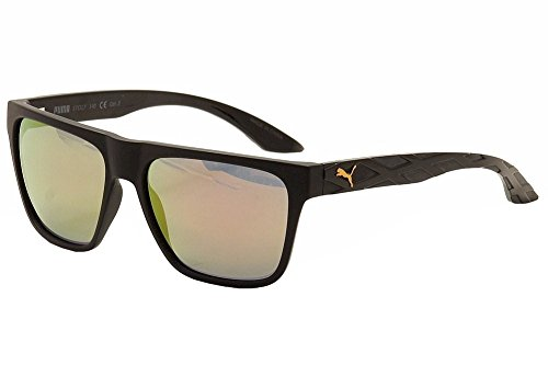 Puma - EXO 600 PU0008S, Wayfarer, injecté, homme, BLACK/GREY RED MIRROR cat.3(001 J), 57/0/0