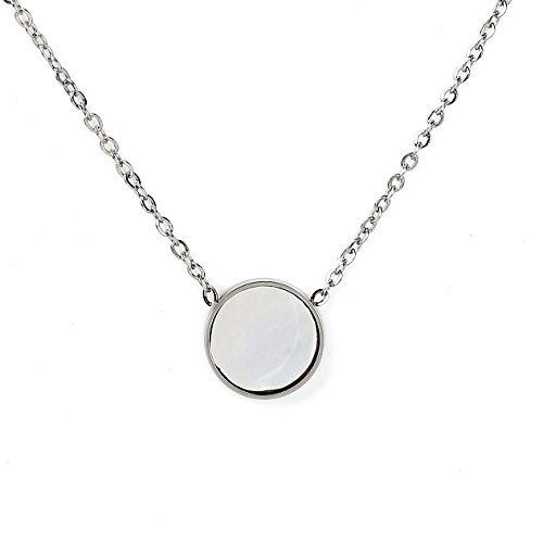 (United Elegance Contemporary Silver Tone Designer Necklace with Petite Arctic White Faux Mother-of-Pearl Circular Geometric Pendant)