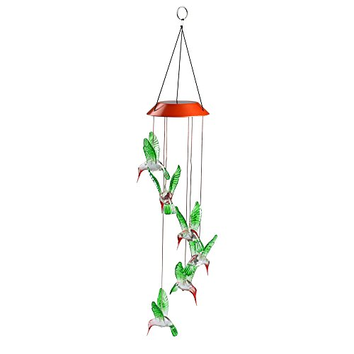 Romantic LED Wind Chime Lights, Solar Color Changing Solar Mobile Wind Chimes Lights Night Light For Home, Party, Festival Days, Garden,Christmas Decoration with Spinning Hook(Humming Bird)]()