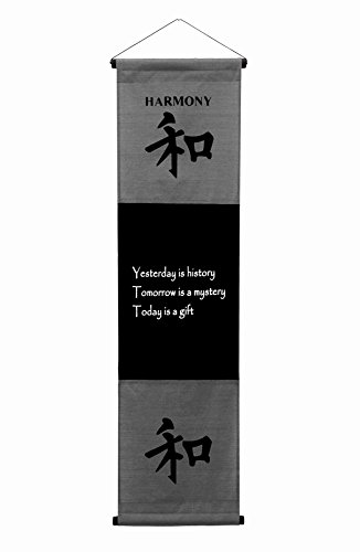 (G6 Collection Inspirational Wall Decor Harmony Banner Large, Inspiring Quote Wall Hanging Scroll, Affirmation Motivational Uplifting Art Decoration, Thought Saying Tapestry Harmony (Gray))
