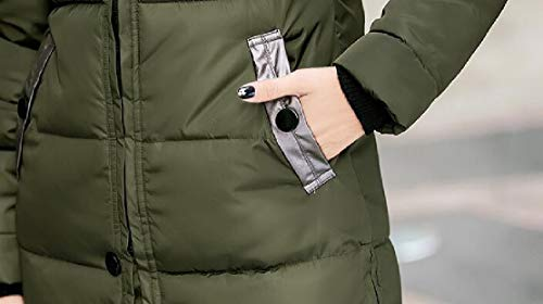 EKU Winter Green Fur Long Jacket Puffer Coat Faux Thickened Hooded Women Down Ux6Uq8wFar