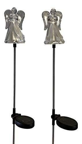Clear Acrylic Solar Powered Angel Stakes, Set of 2 Changing
