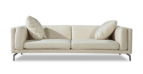Kardiel Basil Modern Loft Sofa, White Peacoat Cashmere, Stainless Steel Legs