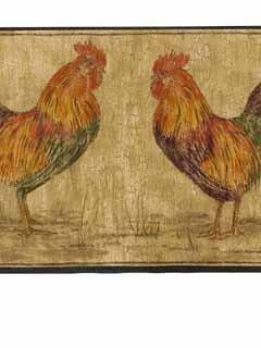 Rooster Wallpaper Border - Black Edge