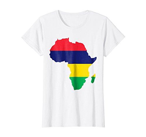 Womens Mauritius flag t-shirt Africa map t-shirt Large White (Map Africa T-shirt)