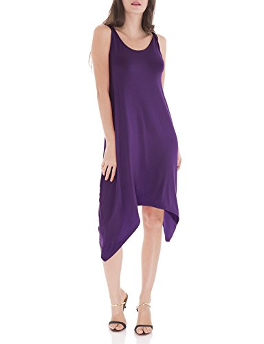 - H2H Womens Solid Scoop Neck Sleeveless Side Panel Plus Size Swing Dress Purple US 2XL/Asia 2XL (CWDSD0144)