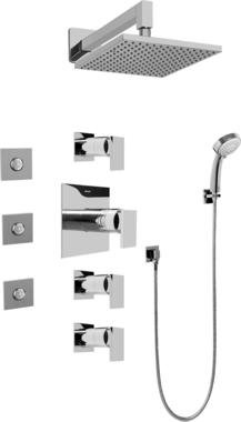 Graff GC1.132A-LM31S-SN Contemporary Square Thermosatic Set w/Body Sprays & Handshower (Rough & Trim