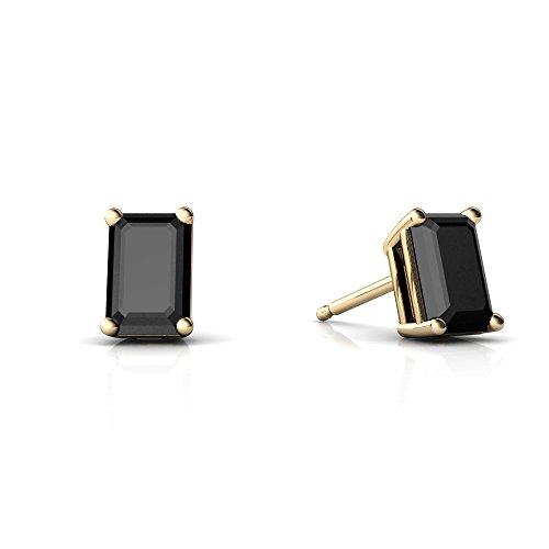 14kt Yellow Gold Black Onyx 6x4mm Emerald_Cut Emerald-Cut Stud Earrings
