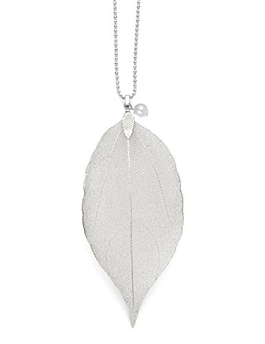 CLORIS TAUTOU Long Necklaces for Women, Real Filigree Leaf Pendant Jewelry Gifts for Women Girls A Silver Leaf with Pearl