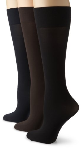 Gold Toe Women's Microfiber Trouser 3 Pack,Brown/Navy/Black,9-11