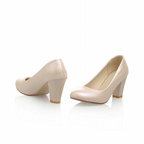 Carol Zapatos Nupcial Para Mujer Grace Dancing Party Sweet Charm Alto Chunky Heel Dress Bombas Zapatos Beige