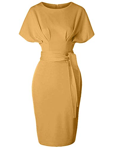 GownTown Women's 50s 60s Vintage Sexy Fitted Office Pencil Dress Dark - Spandex Vintage