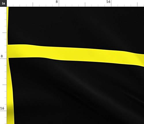 Black Fabric - Yellow Grid Squares Checks La Windowpane Print on Fabric by The Yard - Sport Lycra for Swimwear Performance Leggings Apparel Fashion