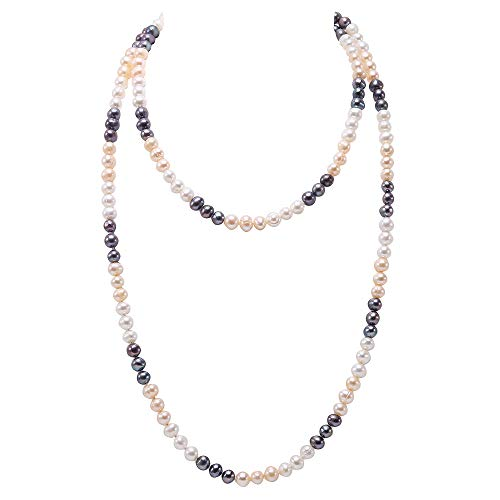 JYX Pearl Long Strand Necklace 7-8m White and Blue Cultured Freshwater Pearl Necklace for Women 47