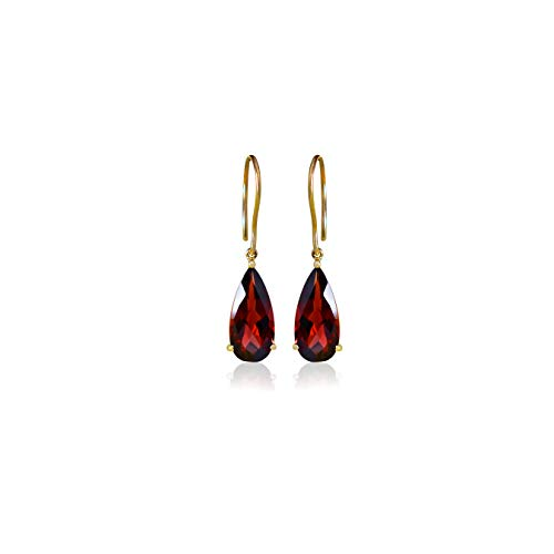Euforia Jewels 14K Yellow Gold Natural Garnet 7.10Cts Pear Top Quality Dangling Earring Friendship Day Gift