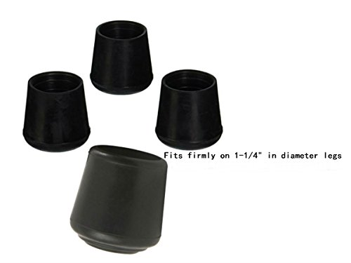 AKOAK 4 Pieces Table Chair Rubber Leg Tips Caps,1-1/4 Inch,Black