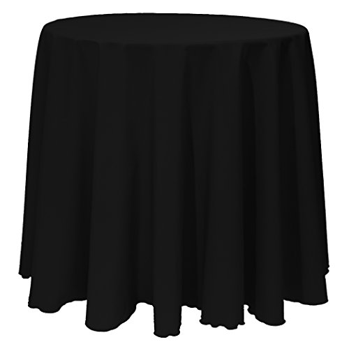 Ultimate Textile (10 Pack) 120-Inch Round Polyester Linen Tablecloth - for Wedding, Restaurant or Banquet use, Black