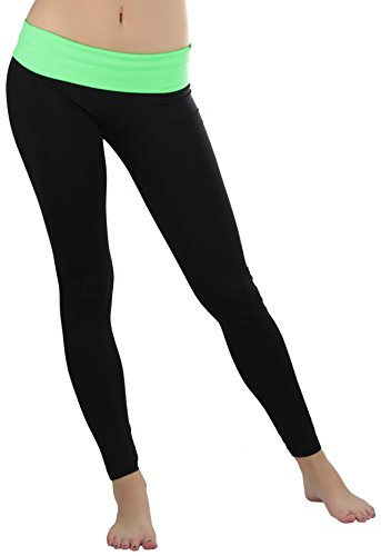 13b9831f95 ToBeInStyle Women's Black Athletic Leggings with Fold-Over Contrast  Waistband