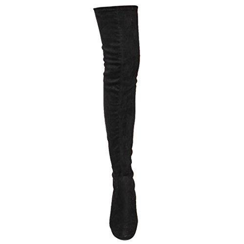 Beston Ej07 Femmes Stretch Extensible Cuisse Haute Plate-forme Talon Compensé Bottes Noir
