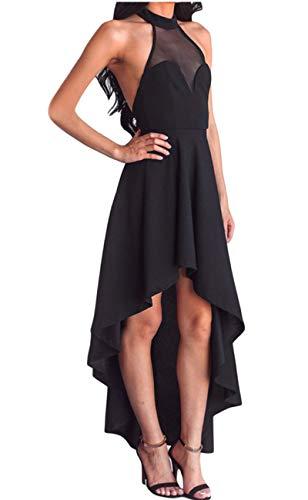 Lrud Women's Halterneck Sexy Sheer Mesh Decolletage Evening Gowns Off Shoulder Sleeveless Hi-low Hemline Party Club Dress Black XL by Lrud (Image #2)