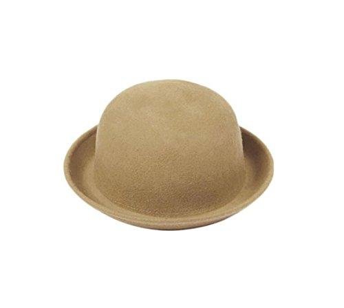 Vintage Unisex Trendy Cute Ladies Women Wool Felt Cloche Derby Bowler Hat Cap (Light Camel, 22