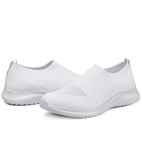 konhill Women's Walking Tennis Shoes - Lightweight Athletic Casual Gym Slip on Sneakers