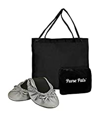 Solemates Your Purse Pal Foldable Bowed Ballet Flats w/Expandable Tote Bag for Carrying Heels